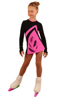 IceDress Figure Skating Dress - Thermal - Velvet (Black with Hot Pink, Feathers)
