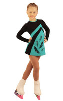 IceDress Figure Skating Dress - Thermal - Velvet (Black with Mint, Feathers)