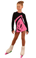IceDress Figure Skating Dress - Thermal - Velvet (Black with Pink, Feathers)
