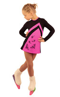 IceDress Figure Skating Dress - Thermal - Velvet (Black with Hot Pink, Swirls)