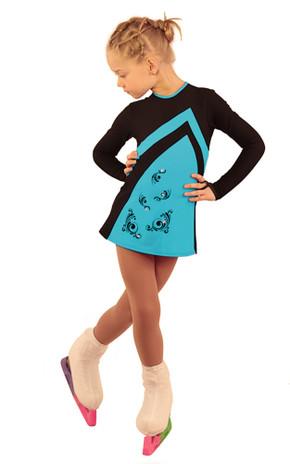 IceDress Figure Skating Dress - Thermal - Velvet (Black with Turquoise, Swirls)