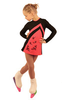 IceDress Figure Skating Dress - Thermal - Velvet (Black with Coral, Swirls)