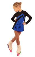 IceDress Figure Skating Dress - Thermal - Velvet (Black with Cornflower, Swirls)