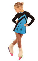 IceDress Figure Skating Dress - Thermal - Velvet (Black with Blue, Swirls)