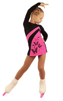 IceDress Figure Skating Dress - Thermal - Velvet (Black with Hot Pink, Butterfly)