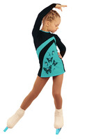 IceDress Figure Skating Dress - Thermal - Velvet (Black with Turquoise, Butterfly)