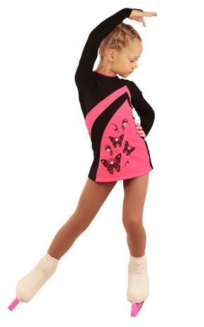 IceDress Figure Skating Dress - Thermal - Velvet (Black with Pink, Butterfly)
