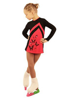 IceDress Figure Skating Dress - Thermal - Velvet (Black with Coral, Butterfly)