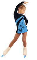 IceDress Figure Skating Dress - Thermal - Velvet (Black with Blue, Butterfly)