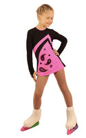 IceDress Figure Skating Dress - Thermal - Velvet (Black with Hot Pink ) 2nd view