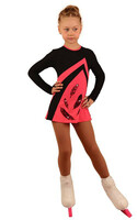 IceDress Figure Skating Dress - Thermal - Velvet (Black with Coral) 2nd view