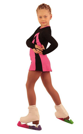 IceDress Figure Skating Dress - Thermal - Velvet (Black with  Pink) 2nd view