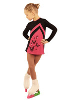 IceDress Figure Skating Dress - Thermal - Velvet (Black with Raspberry)