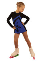 IceDress Figure Skating Dress - Thermal - Velvet (Black with Cornflower)