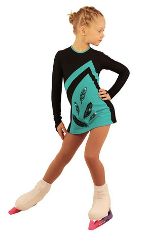 IceDress Figure Skating Dress - Thermal - Velvet (Black with Turquoise) 2nd view