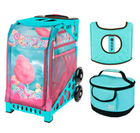 Zuca Sport Bag -  Cotton Candy with Turquoise Lunchbox and Turquoise Seat Cover (Turquoise  Frame)