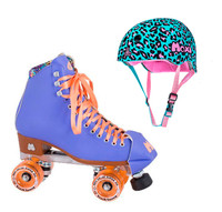 Moxi Combo Set - Beach Bunny Roller Skate (Periwinkle Sunset) & Helmet (Leo)
