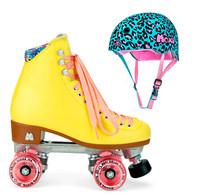Moxi Combo Set - Beach Bunny Roller Skate (Strawberry Lemonade) & Helmet (Leo)