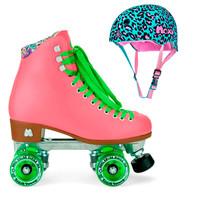 Moxi Combo Set - Beach Bunny Roller Skate (Watermelon) & Helmet (Leo)