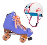 Moxi Combo Set - Beach Bunny Roller Skate (Periwinkle Sunset) & Helmet (Stripey)