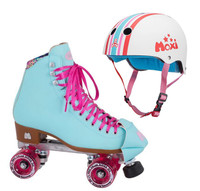 Moxi Combo Set - Beach Bunny Roller Skate (Blue Sky) & Helmet (Stripey)