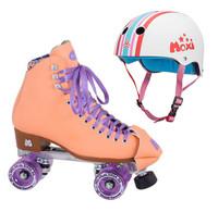 Moxi Combo Set - Beach Bunny Roller Skate (Peach Blanket ) & Helmet (Stripey)