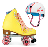 Moxi Combo Set - Beach Bunny Roller Skate (Strawberry Lemonade) & Helmet (Stripey)