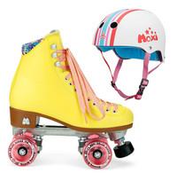 Moxi Combo Set - Beach Bunny Roller Skate (Strawberry Lemonade) & Helmet (Stripey)