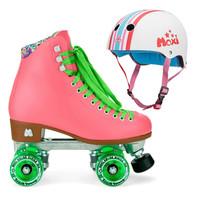 Moxi Combo Set - Beach Bunny Roller Skate (Watermelon) & Helmet (Stripey)