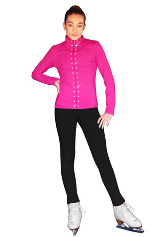 ChloeNoel Outfit -JS735 Solid Color Elite Ice Skating Jacket w/ Thumb Holes (Swarovski Crystal Design) and ChloeNoel P23 Pants