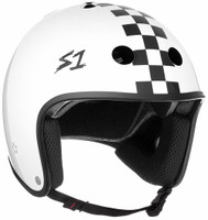 S1 Retro Lifer Helmet - White Gloss w/ Checkers