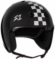 S1 Retro Lifer Helmet - Black Gloss w/ White  Checkers