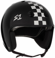 S1 Retro Lifer Helmet - Black Gloss w/ White  Checkers