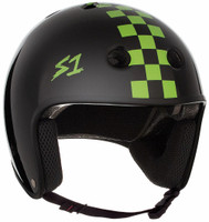 S1 Retro Lifer Helmet - Black Gloss w/Bright Green Checkers