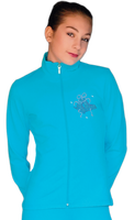 ChloeNoel JT811 Solid  Fleece Fitted  Elite Figure Skating Jacket w/  Blue Ribbon Crystals Combination