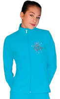 ChloeNoel JT811 Solid  Fleece Fitted  Elite Figure Skating Jacket w/ Mini Fuchsia Ribbon Crystals Combination