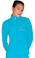 ChloeNoel JT811 Solid  Fleece Fitted  Elite Figure Skating Jacket w/ Skate/Blue Snowflakes Crystals Combination