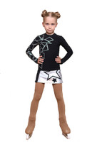 IceDress Figure Skating Outfit - Thermal - Rock Star (Black with Silver and Rhinestones)
