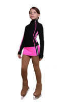 IceDress Figure Skating Outfit with Skirt - Thermal - Olympus (Hot Pink with Black)