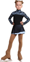 IceDress Figure Skating Dress - Thermal - Harmony 2 (Black with Pale Blue)