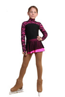 IceDress Figure Skating Dress - Thermal - Harmony 2 (Black with Hot Pink)