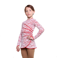 IceDress Figure Skating Dress - Thermal - Grace with guipure (White with Red)