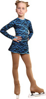 IceDress Figure Skating Dress - Thermal - Grace with guipure (Black with Blue)