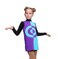 IceDress Figure Skating Sundress - Thermal - Harlequin (Purple with Turquoise)