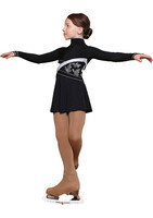 IceDress Figure Skating Dress - Thermal - Delight (Black with Silver and Rhineston Applique)