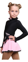 IceDress Figure Skating Dress - Thermal - Dragonfly (Black with Pale Pink)