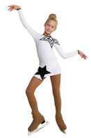 IceDress Figure Skating Dress - Thermal - Constellation (White with Black)