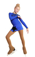 IceDress Figure Skating Dress - Thermal - Constellation (Cornflower Blue with Black)