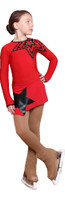 IceDress Figure Skating Dress - Thermal - Constellation (Red with Black)
