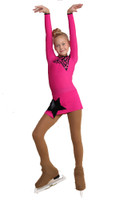 IceDress Figure Skating Dress - Thermal - Constellation (Fuchsia with Black)